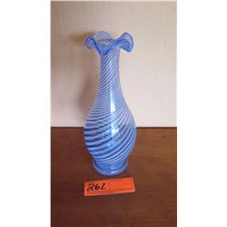 """Tall Blown Venetian Glass Vase - Blue w/Swirl Pattern, 9.25"""" H, 4"""" W"""