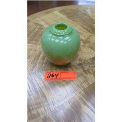 "Small Celadon Hand-Blown Glass Vase - 4.5"" H X 3.75"" W, Hugh Jenkins & Stephanie Ross"