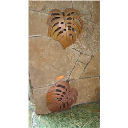 "Qty 2 Copper ""Monstera"" Fireplace Vent Cover - Custom Made by Erwin Schmitz, W:15"" H:16/17"