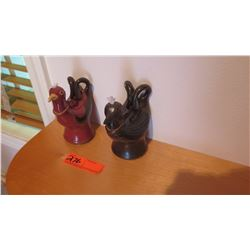 Qty 2 I'iwi and Alala Native Hawaii Bird Oil Lamps by Emily Herb - Ceramic, Burgundy & Brown