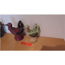Qty 2 Apapane & Palila Native Hawaii Bird Oil Lamps by Emily Herb - Ceramic, Lt. Green & Burgundy