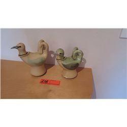 Qty 2 Amakihi & Palila Native Hawaii Bird Oil Lamps by Emily Herb - Ceramic, Lt. Green & Lt. Yellow