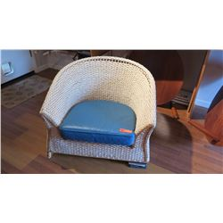"Woven Water Hyacinth Armchair - W:33"" D:29"" H:28"" Needs Repair, ""Asia Tides"", Roche Bobois,"