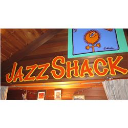 """Jazz Shack"" Tropical Jazz Party Theme Props Wood Frame 8' Long X 21"" H"