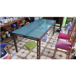 "Dining Room Table w/Glass Top -  3' X 7', ""Rusted"" & Lacquered Base, 1-Inch Thick Glass"