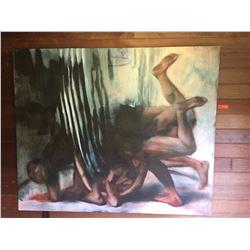 "Original Oil Painting - Paul Pfeiffer, 1989, 4' 11"" X 5' 11"""