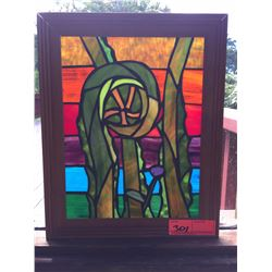 """Framed Stained Glass - """"Fern Shoot"""" by Randy Goff 12.5 X 15.5"""