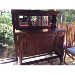 "Antique Sideboard - Dark Wood, Needs Repair, W:50"" X D:24"" X H:57.5"""