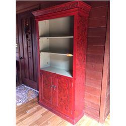 "Handpainted Cupboard w/Shelves W:39"" X D:14"" X H:72"""