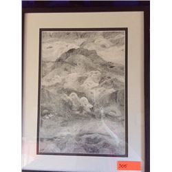 Original Pointillism Ink Drawing by Paolo Bardaro 26X20