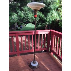 """Antique Torchiere - Brass w/Milk Glass Shade, Marble Base H:64.5"""", Shade Dia: 16"""", Base Dia: 8.5"""""""