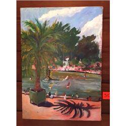 "Original Painting: Parisian Park Scene by Blair Pessemier, 13X18"", Acrylic on Canvas"