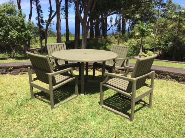 Peachy Teak Outdoor Table 4 Chairs Dia 50 H 28 Chairs W Interior Design Ideas Skatsoteloinfo