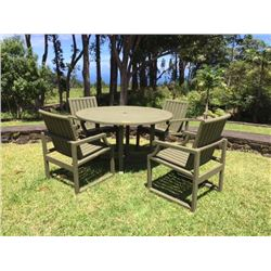 """Teak Outdoor Table & 4 Chairs, Dia: 50"""", H:28"""", Chairs W:22.5"""" X D:22"""" X H:33.5"""""""