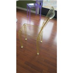 "Qty 6 Yellow Acrylic Chairs: ""La Marie"" by Philippe Starck, W:15"" X D:21"" X H:34"""