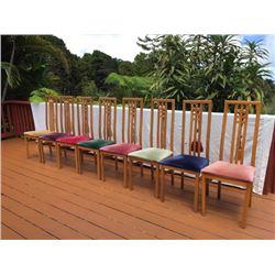 "Qty 8 Hi-Back Chairs w/Cushion Seats, H: 43.5"" X W: 18"" X D: 16"""