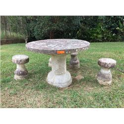 """Stone Table & 4 Stools - one stool missing top (broke) and base is broken (photo 5). Table: H: 31"""" /"""