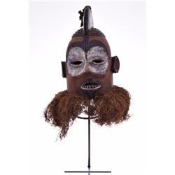 African Suku Wood Helmet Dancing Mask, Congo with