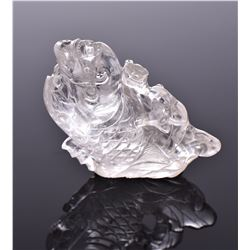 Rare Chinese Rock Crystal Sculpture Of A Dragon Se