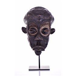 Exceptional African Lulua Wood Mask, Congo. Heavil