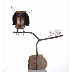 Curtis Jere, 1968 Brass Metal Owl Sculpture Mounte