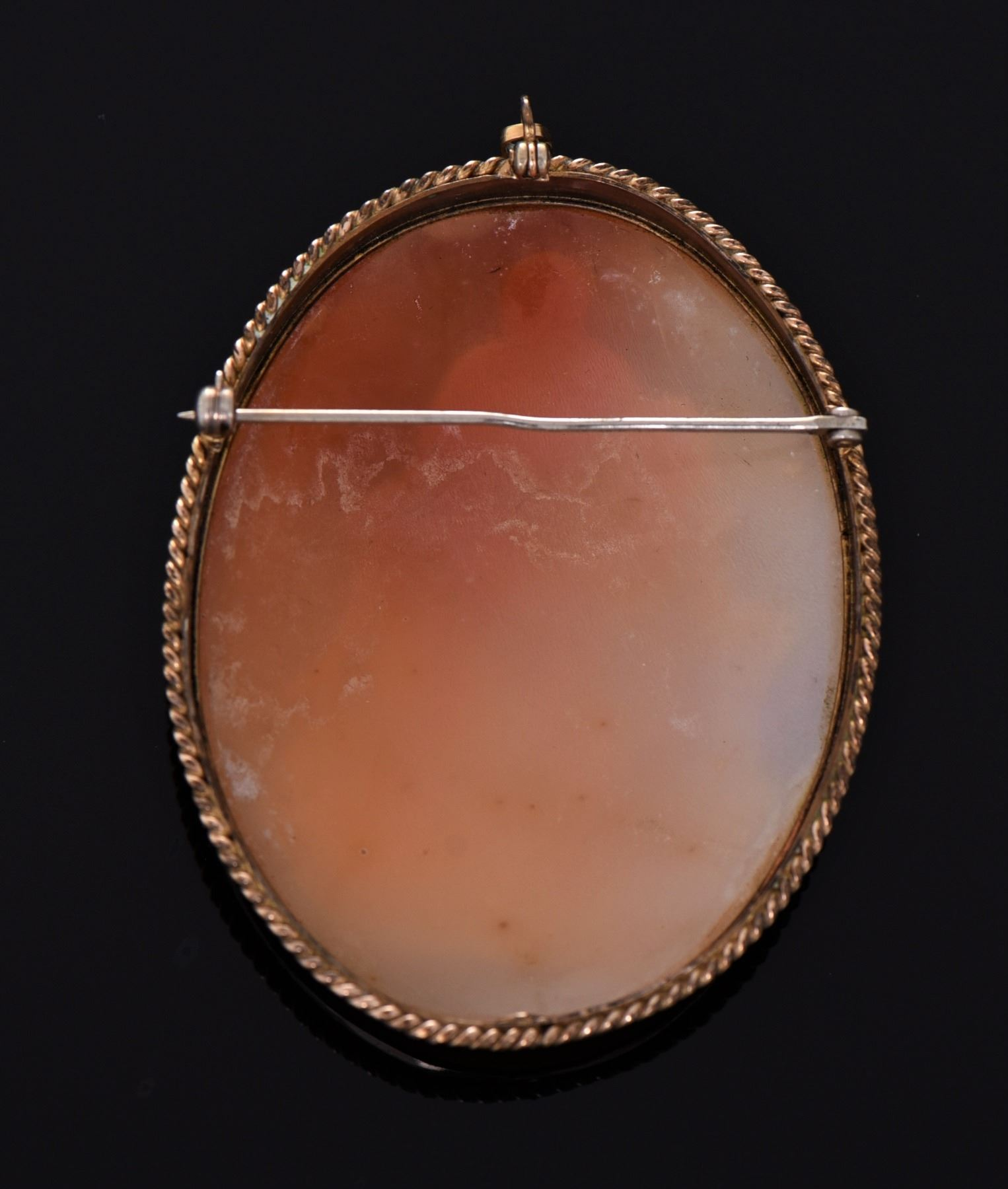 Large 19th Century Shell Cameo Brass Roped Brooch