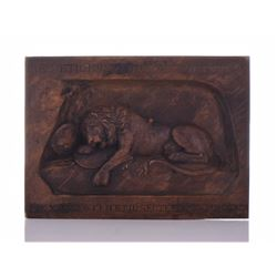 An Exquisite Carved Wood Plaque of the Lion of Luc