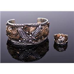 Large Allen Chee Sterling Silver Eagle Cuff Bracel