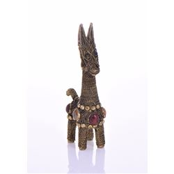 Vintage Bronze Roped Llama Adorned with colorful s