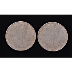 Pair of 1986 American Silver Eagles in Brilliant U
