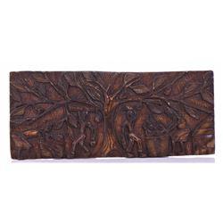 "Vintage Haitian Wood Carved Plaque. Size 11.5"" x 2"