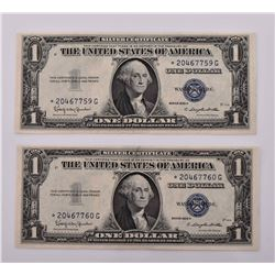 Pair of 1935-H $1 Blue Seal Silver Certificate Sta