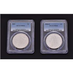 Two Morgan Silver Dollars, 1889-P NGC MS64, 1900-O NGC