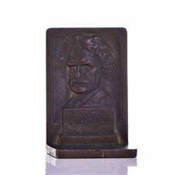 Mark Twain Solid Bronze Bookend by Feldman. Estima