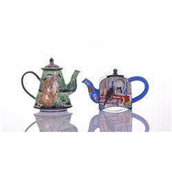 Miniature Enamel Teapot Bibelot, depicting Rabbits