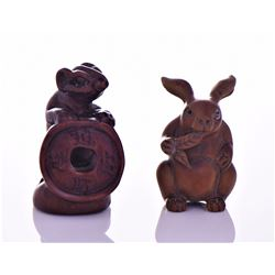 Two Chinese Wood Robe Button Animal Figures of A R