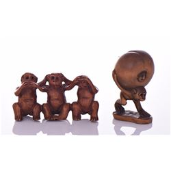 Two Chinese Wood Button Carving Of Monkeys. Speak