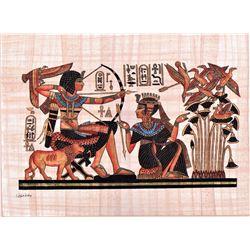 """""""Pharoah Archery"""" Egyptian Papyrus With COA, Delta"""
