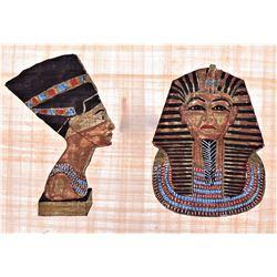 King Tut And Nefertiti Egyptian Papyrus With COA,