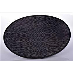 Vintage Black Pottery Platter Plates, Signed Estim