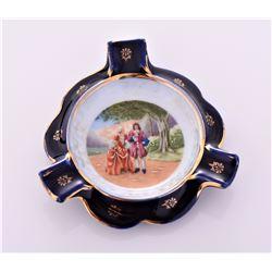 Limoges Hand Painted Porcelain ashtray, France. De