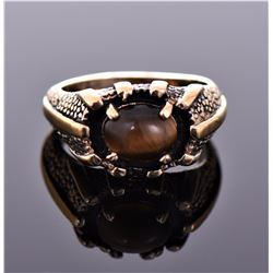 Vintage 14k Gold Plated Tiger's Eye Ring. Ring Siz