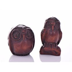 Two Vintage Wood Owl Carvings. Estimated more than