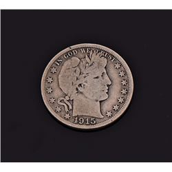 1915-S Circulated Barber Half Dollar. Estimated mo