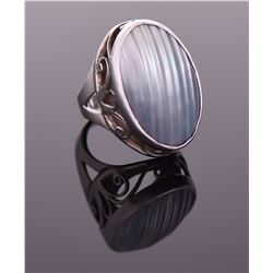 Vintage Mother Of Pearl Shell Sterling Silver Ring