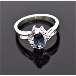 Blue London Topaz And CZ Diamond Sterling Silver R