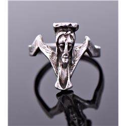 Antique Sterling Silver Jesus Ring, Spain. Ring Si