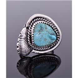 Navajo South West Blue Turquoise Ring With Silvers