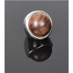Large Wood Ball Sterling Silver Ring. Ring Size: 7
