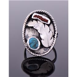Native American Style Ring With Turquoise And Red